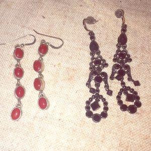 Two pairs of dangling earrings